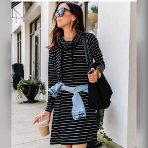 - Lou & Grey - Cowl neck Striped Knit Dress